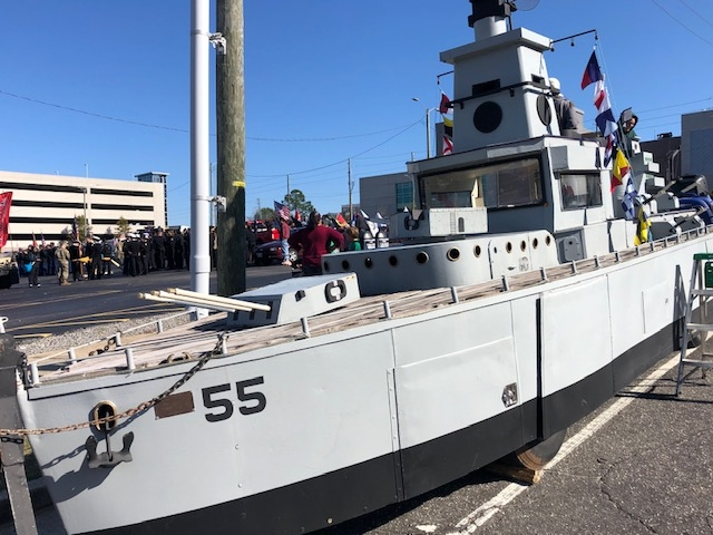 Battleship North Carolina BB -55 Float Model in Veterans Parade